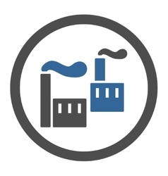 Industry flat cobalt and gray colors rounded vector