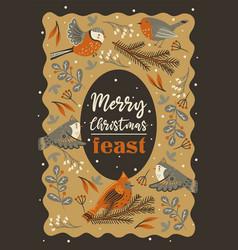 invitation to christmas feast winter birds vector image