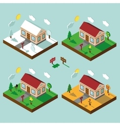 Isometric house set3D VillageLandscape in vector image