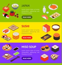 Japanese food concept banner horizontal set 3d vector