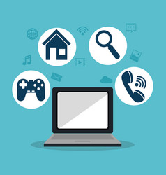 laptop with social media marketing icons vector image