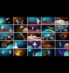 Large set different space scenes vector