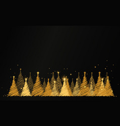 luxury gold christmas tree with stars and sparkles vector image