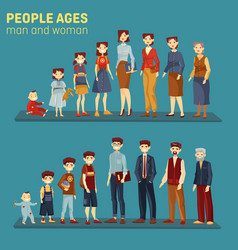 Men and women at different aging stages vector