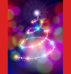Merry christmas bokeh background star pine tree vector image