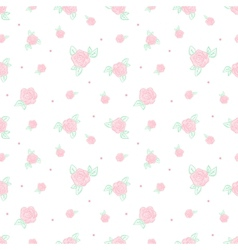 Minimalistic vintage retro rose flowers seamless vector