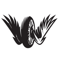 monochrome pattern with wheel wings vector image