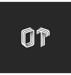 Monogram 3D initials OT logo isometric geometric vector