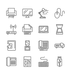 Office devices icons vector image