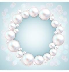 Pearl beads wedding invitation frame on blue vector