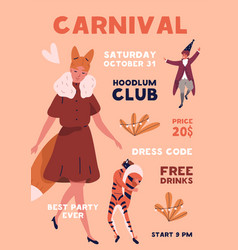 people in animal costumes carnaval clothes vector image