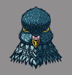 pigeon vintage emblem dove head cartoon vector image
