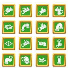 Pipeline constructor icons set green square vector
