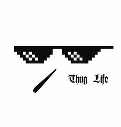 Pixel art glasses thug life meme glasses vector