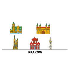 Poland krakow flat landmarks vector