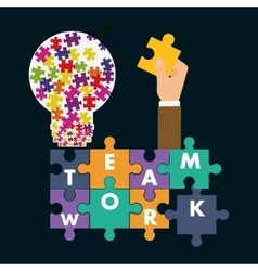 puzzle hand teamwork support design vector image