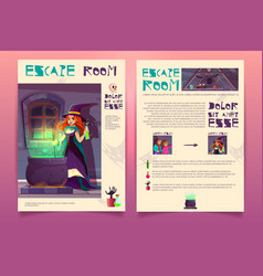 Quest game brochure witch house escape vector