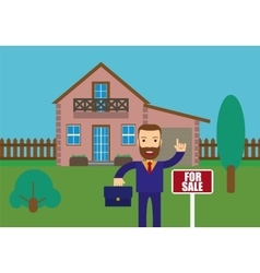 Real Estate Agent Holding vector image
