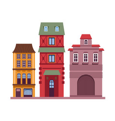 residential buildings set with classic old vector image