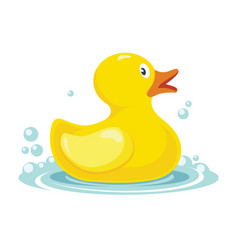 Rubber yellow duck bath children toy in water vector