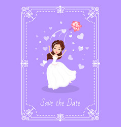 save date greeting card bride in white dress vector image