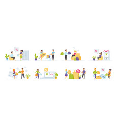 seasonal shopping set with people characters vector image