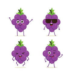 set grape characters in different expressions vector image