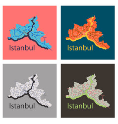 Set high quality map istanbul flat vector