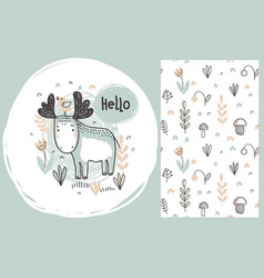 Set of cute hand drawn moose and seamless vector