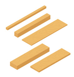 Set of isometric wooden planks stack of bars and vector