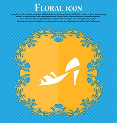 Shoe icon sign Floral flat design on a blue vector image