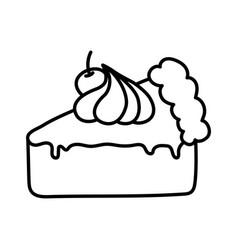 slice cake with cherry cream on white background vector image