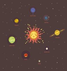 Solar system retro view vector