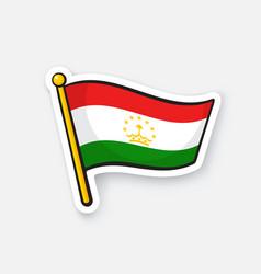 sticker flag tajikistan on flagstaff vector image