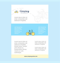 template layout for cycle comany profile annual vector image