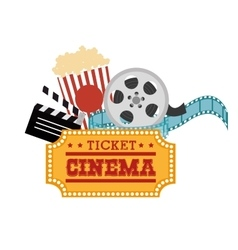 Ticket cinema reel pop corn and clapper vector