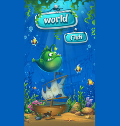 Undersea world with the ship - mobile format vector