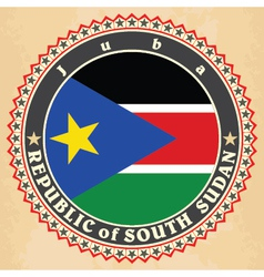 Vintage label cards of South Sudan flag vector image