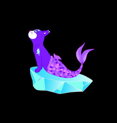 violet cat mermaid sitting on a stone vector image