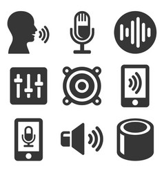 Voice smart devices with sound wave icons set vector