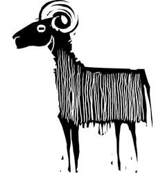 Woodcut style ram vector