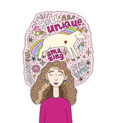 young beautiful girl with closed eyes in a pink vector image