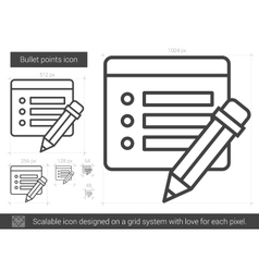 Bullet points line icon vector
