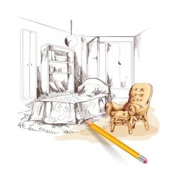 Bedroom Sketch Interior vector image vector image