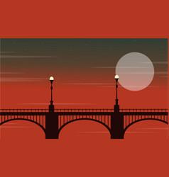 Bridge with lamp landscape at night vector
