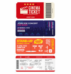 concert and stand up comedy show tickets cinema vector image