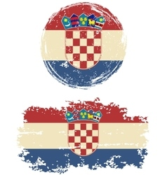 Croatian round and square grunge flags vector image
