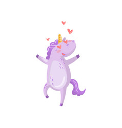 Cute unicorn character in love with hearts in its vector