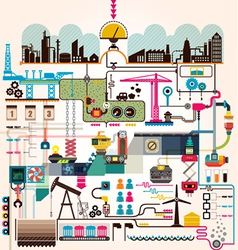 Set of factory infographics factory info graphics vector image vector image
