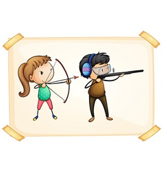 A frame with two people playing archery vector image vector image